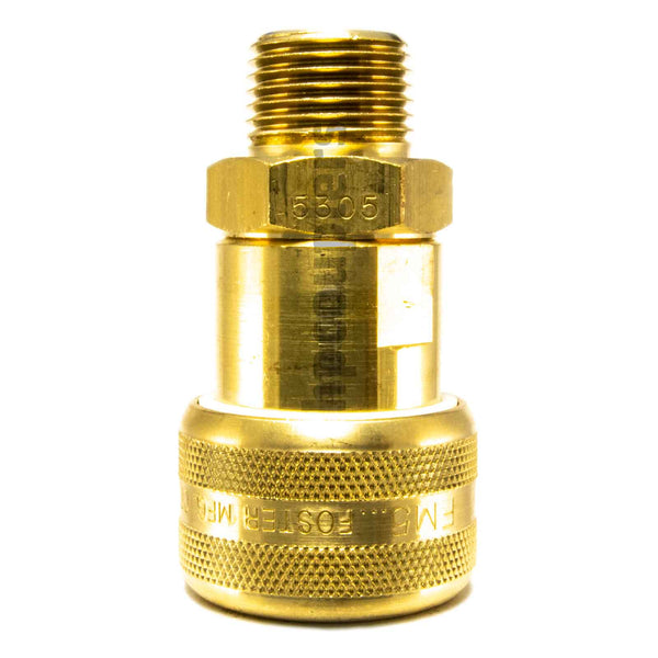"Foster FM5305, 5 Series, Industrial Coupler, Automatic, 1/2"" Male NPT, Brass"