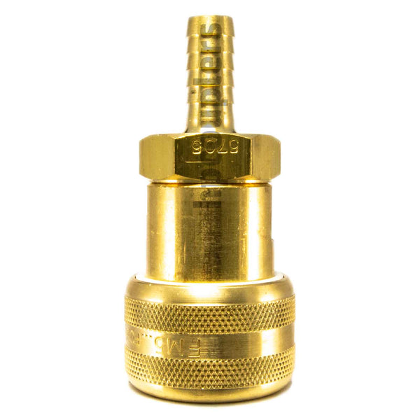 "Foster FM5705, 5 Series, Industrial Coupler, Automatic, 3/8"" Hose Barb, Brass"