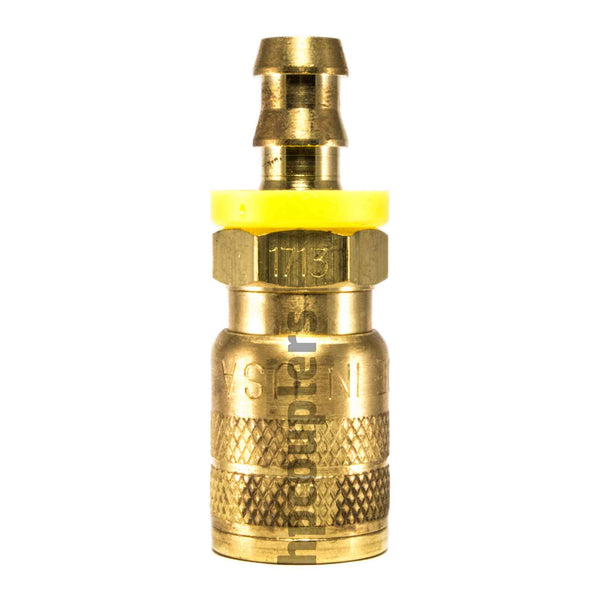 "Foster SG1713, 3 Series, Industrial Coupler, Manual, Sleeve Guard, 3/8"" Push-On Hose Barb, Brass"
