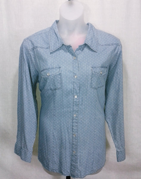 17620 Dressbarn Plus Size Light Wash Polka Dot Print Light Denim Button Down Size NWT - Sz 3X