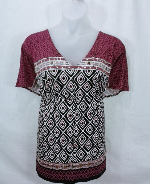 AUCTION ITEM Lane Bryant Plus Size Beaded Mixed Print Popover Size 22/24