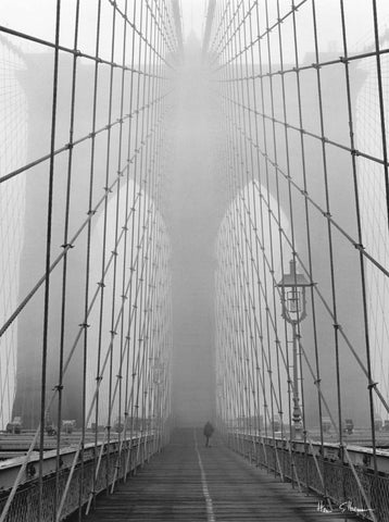 Foggy Day on Brooklyn Bridge - Art Print