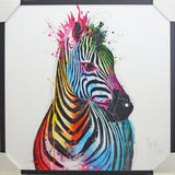 Framed Colourful Zebra Art Print