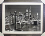 Framed Black and White Twin Towers New York Art Print
