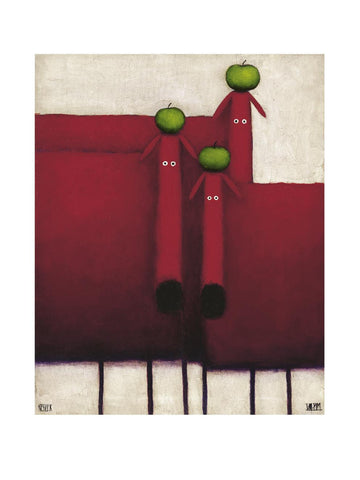 Daniel Patrick Kessler -Three Red Dogs with Apples 60x80cm Art Print Wall Picture - Custom Framing, Art Prints, Framed Pictures, Ready Made Frames Artists Materials & more - Art Prints - art@home