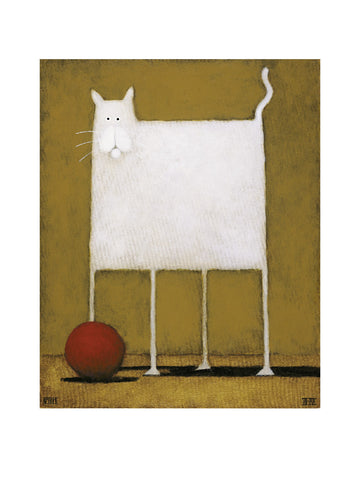 White Cat With Ball Portrait Art Print Wall Art Picture - Custom Framing, Art Prints, Framed Pictures, Ready Made Frames Artists Materials & more - Art Prints - art@home