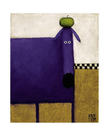 Purple Dog with Apple Portrait Art Print Wall Art Picture - Custom Framing, Art Prints, Framed Pictures, Ready Made Frames Artists Materials & more - Art Prints - art@home