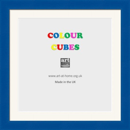 "Blue Square frame colour cubes with bevelled mount and glass window. To Hang. Suits 4x4"" Photo with mount or 6x6"" without mount"