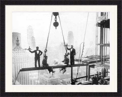 Lunch Above Manhattan Framed Art Print Poster Picture Black Frame