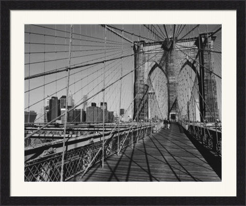 Across Brooklyn Bridge Framed Art Print Poster Picture Black Frame