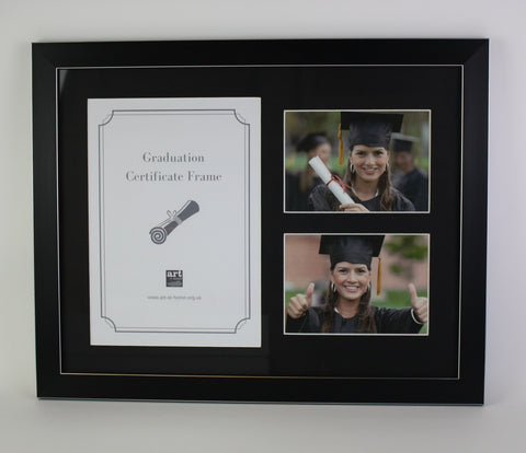 Graduation Certificate Photo Frame in brushed black silverline finish