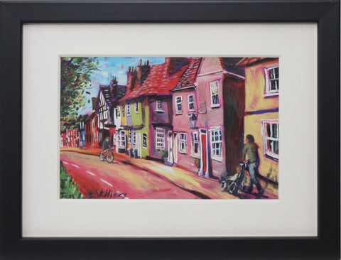 Small Framed Art - Sonia Villiers, Castle Street, Cloud Streak, Saffron Walden