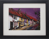 Small Framed Art - Sonia Villiers, Castle Street Sunset, Saffron Walden
