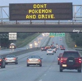 dont, pokemon, and, drive, road, automotive, car, banner, pokemongo, fun, joke, smile