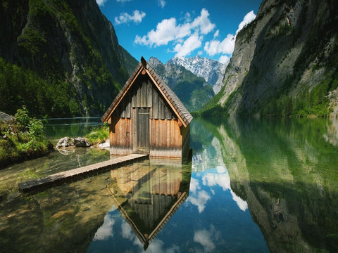 hut, house, landscape, views