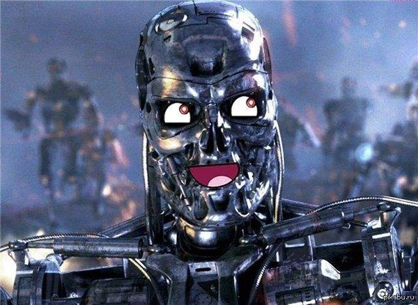 Terminator, smile, fake, joke, eyes, mounth, war, film, cinema, future, head, metallic