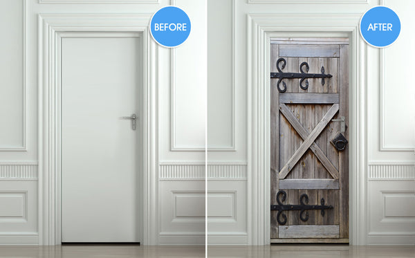 "Door Wall STICKER barn doors poster decole cover film 30""x79"" (77x200 cm)"