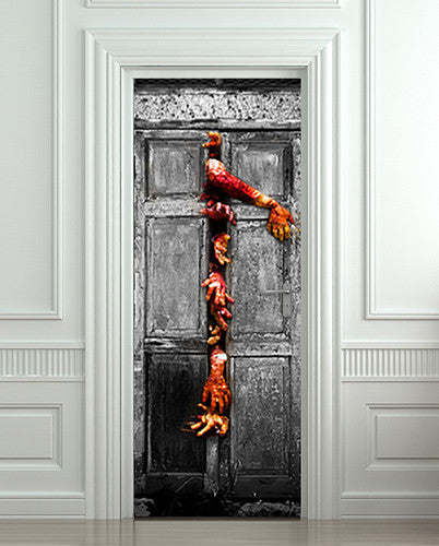 "Door Wall STICKER poster horror blood hands decole cover film 30""x79"" (77x200 cm)"
