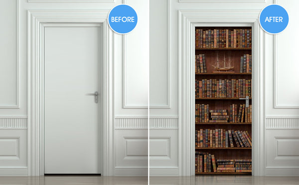 "Door Wall STICKER poster books antique decole cover film 30""x79"" (77x200 cm)"