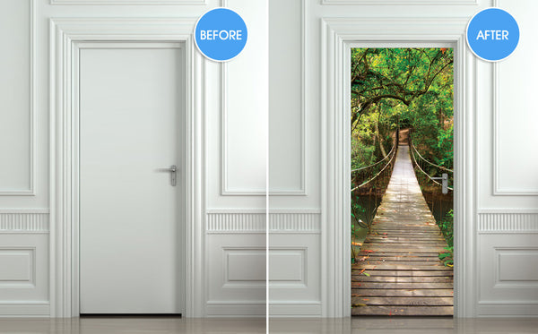 "Door STICKER bridge suspended pendant pendulous rope mural decole film self-adhesive poster 30""x79""(77x200 cm) - Pulaton stickers and posters  - 2"