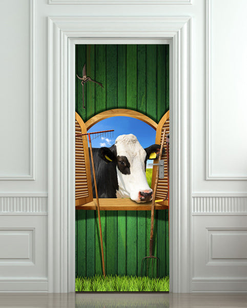 "Door Wall STICKER poster cow village farming decole cover film 30""x79"" (77x200 cm)"
