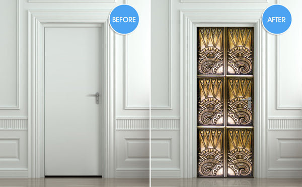 "Door Wall STICKER poster elevator bronze decole cover film 30""x79"" (77x200 cm)"