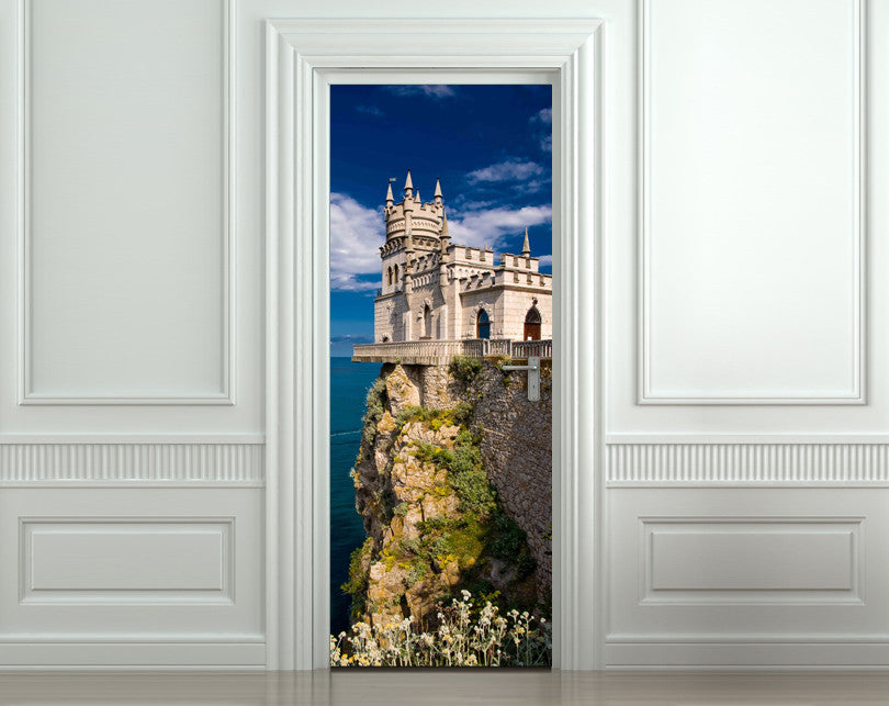 "Door Wall STICKER poster beautiful castle decole cover film 30""x79"" (77x200 cm)"