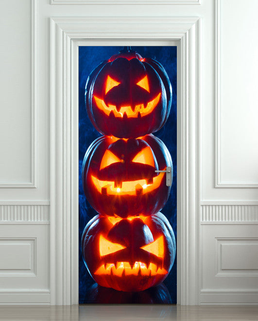 "Door Wall STICKER poster halloween pumpkings decole cover film 30""x79"" (77x200 cm)"