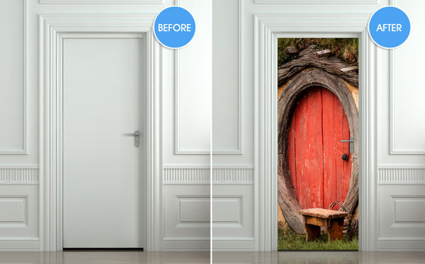"STICKER for DOOR, wall, fridge - Hobbit Entrance, mural, decole, wrap, cover, skin, self-adhesive poster 30""x79"""