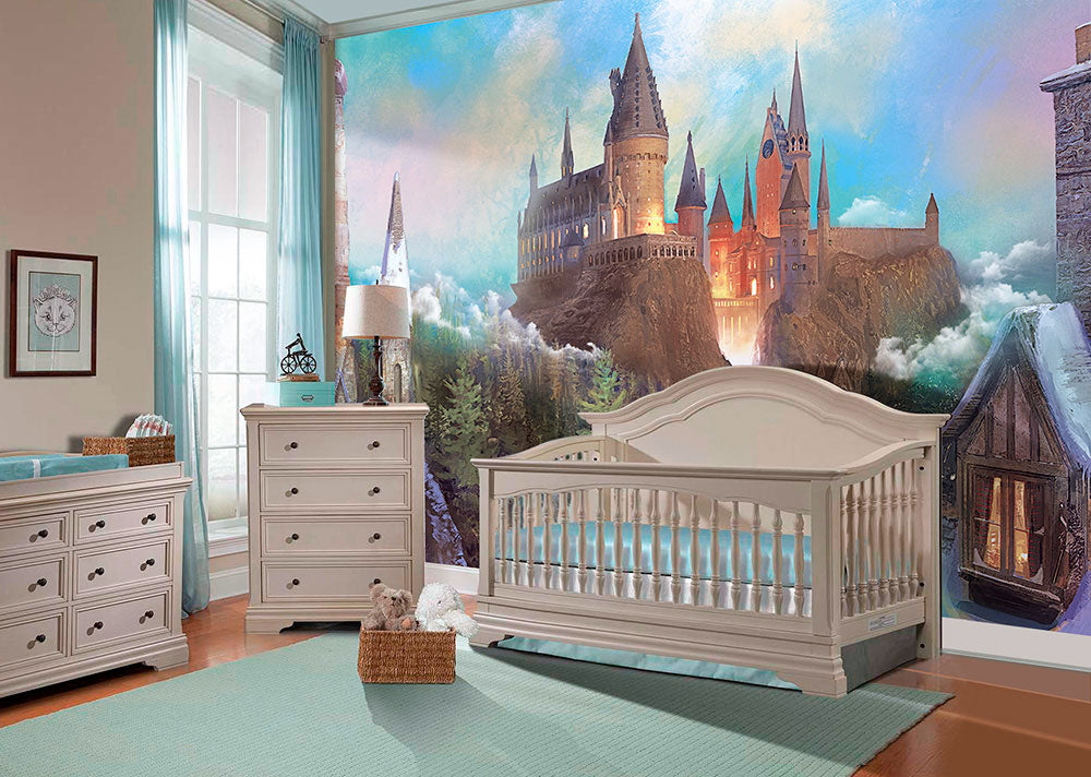Wizards Castle - Wall mural, nursery removable decal. Size: 91inches (height) by 114inches (width).