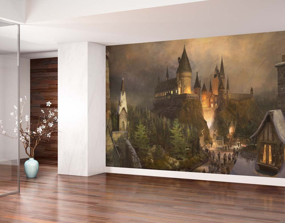 Removable Sticky Mural Wizards Castle - Vinyl self adhesive wallpaper. Size: 113x88 inches.