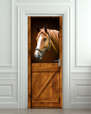Door STICKER horse country barn stable stall mural decole cling cover wrap self-adhesive poster