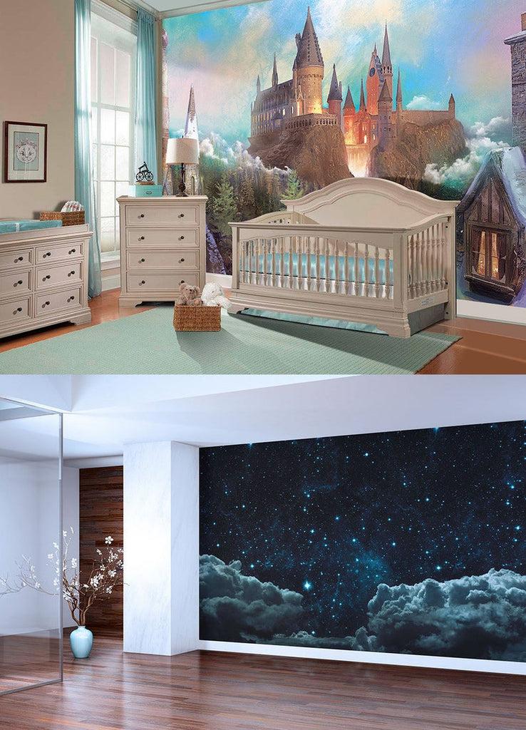 Set of 2 murals: Starry night and Morning castle - Vinyl self adhesive wallpaper, decal.