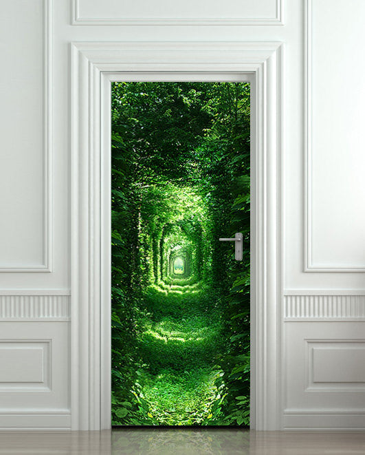 "Door wall sticker forest green tunnel rabbit hole wanderland self-adhesive poster, mural, decole, film 30""x79"" (77x200 cm) - Pulaton stickers and posters  - 1"