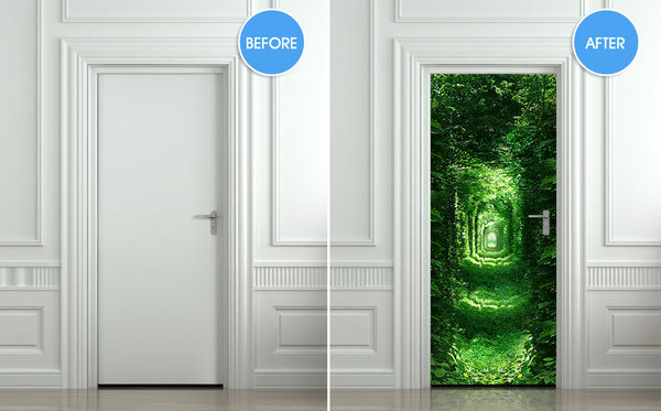 "Door wall sticker forest green tunnel rabbit hole wanderland self-adhesive poster, mural, decole, film 30""x79"" (77x200 cm) - Pulaton stickers and posters  - 2"