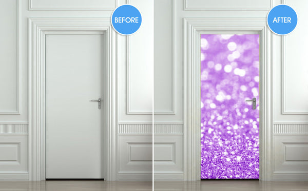"Door Wall STICKER poster bling glitter sparks purple decole sparks shimmer cover film 30""x79"" (77x200 cm) - Pulaton stickers and posters  - 2"