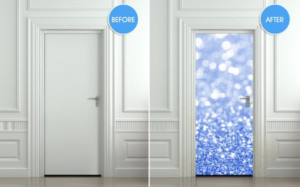 "Door Wall STICKER poster bling glitter sparks blue decole sparks shimmer cover film 30""x79"" (77x200 cm) - Pulaton stickers and posters  - 2"