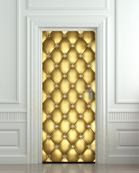 "Door Wall STICKER poster diamond gold golden leather cover film 30""x79"" (77x200 cm) - Pulaton stickers and posters  - 1"