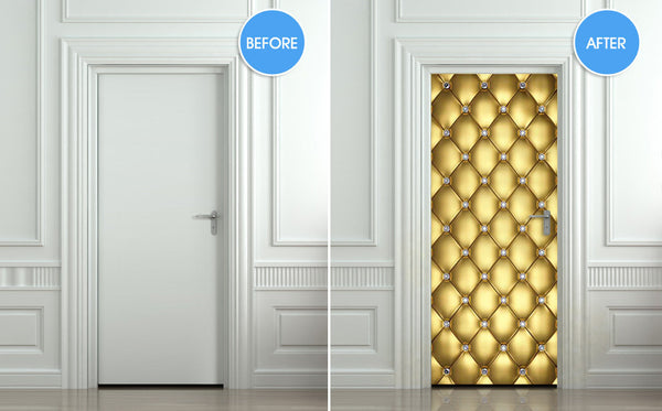 "Door Wall STICKER poster diamond gold golden leather cover film 30""x79"" (77x200 cm) - Pulaton stickers and posters  - 2"
