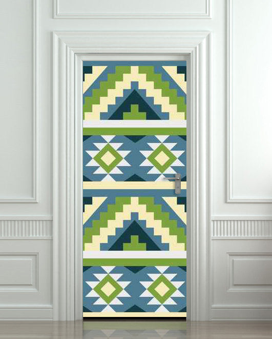 "Door wall sticker cover aztec ethnic tribal pattern 30""x79""(77x200cm) - Pulaton stickers and posters  - 1"