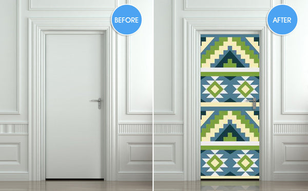 "Door wall sticker cover aztec ethnic tribal pattern 30""x79""(77x200cm) - Pulaton stickers and posters  - 2"
