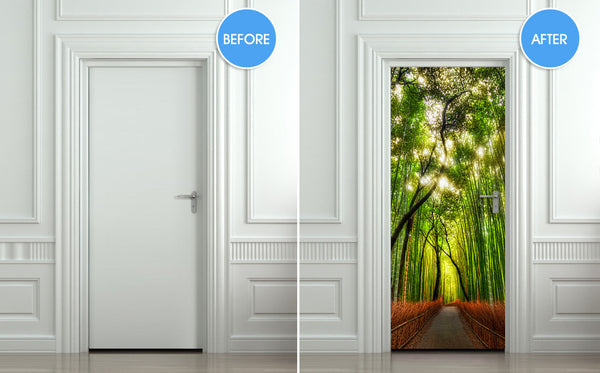 "Door wall sticker cover bamboo forest green trees way 30""x79"" (77x200cm) - Pulaton stickers and posters  - 2"