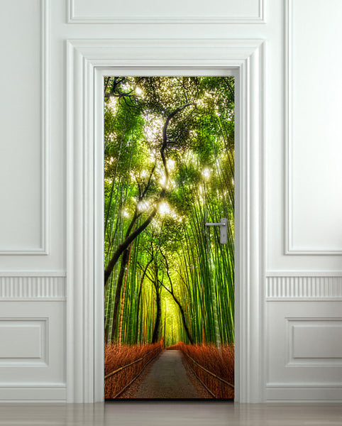 "Door wall sticker cover bamboo forest green trees way 30""x79"" (77x200cm) - Pulaton stickers and posters  - 1"