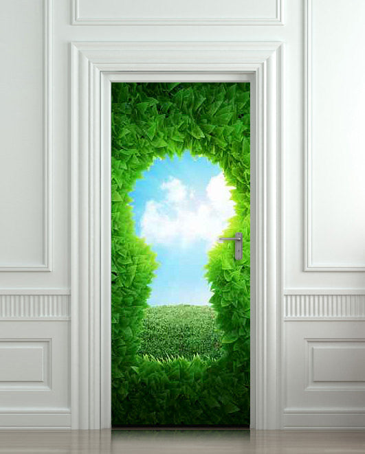 "Door wall sticker forest green keyhole wanderland self-adhesive poster, mural, decole, film 30""x79"" (77x200 cm) - Pulaton stickers and posters  - 1"