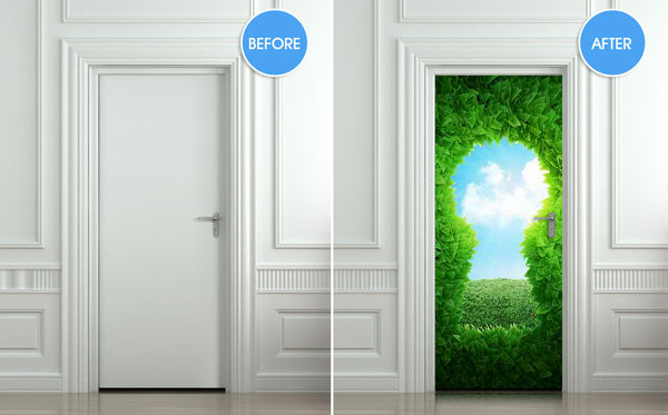 "Door wall sticker forest green keyhole wanderland self-adhesive poster, mural, decole, film 30""x79"" (77x200 cm) - Pulaton stickers and posters  - 2"