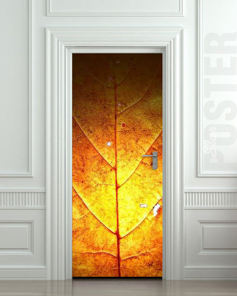 "Door STICKER leaf autumn fall gold nature tree mural decole film self-adhesive poster 30""x79""(77x200 cm) - Pulaton stickers and posters  - 1"