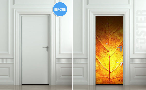 "Door STICKER leaf autumn fall gold nature tree mural decole film self-adhesive poster 30""x79""(77x200 cm) - Pulaton stickers and posters  - 2"