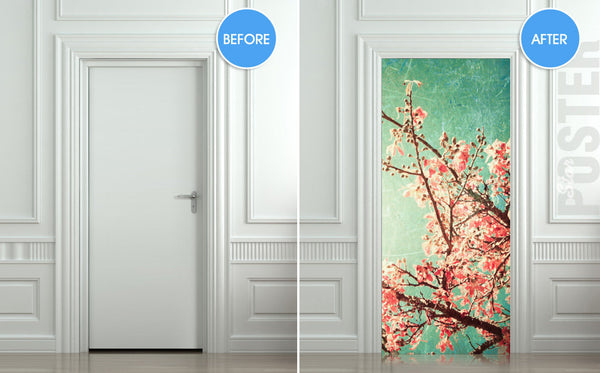 "Door STICKER tree apple garden plum mural decole film self-adhesive poster 30""x79""(77x200 cm) - Pulaton stickers and posters  - 2"
