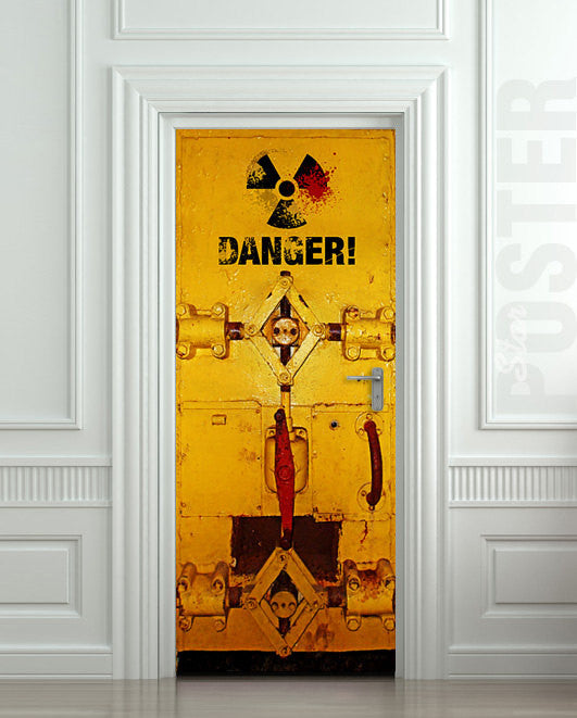 "Door STICKER danger laboratory safe radiation mural decole film self-adhesive poster 30""x79""(77x200 cm) - Pulaton stickers and posters  - 1"