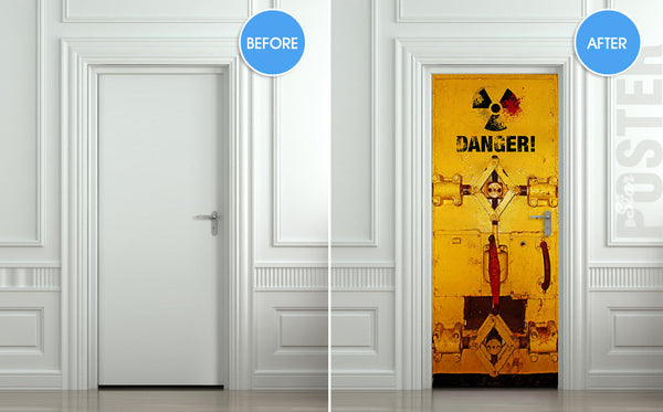 "Door STICKER danger laboratory safe radiation mural decole film self-adhesive poster 30""x79""(77x200 cm) - Pulaton stickers and posters  - 2"
